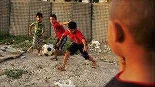 Iraqi children playing football