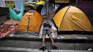Thai protester in Bangkok, 12 February