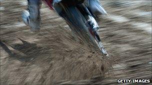 A motor bike in mud