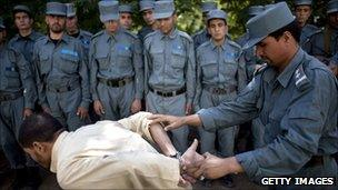 Afghan police recruits training in Kabul, 5 Oct 10