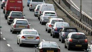 Queuing motorway traffic