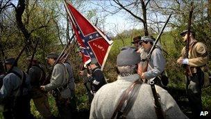 Re-enactors in replica Confederate uniform in Virginia, 2010