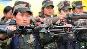 Maoist rebels in training