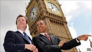 David Cameron and Barack Obama at Big Ben