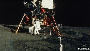 Buzz Aldrin by Apollo 11 lander