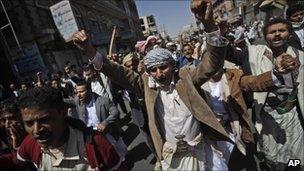 Anti-government demonstrators in Sanaa, Yemen - 18 February 2011