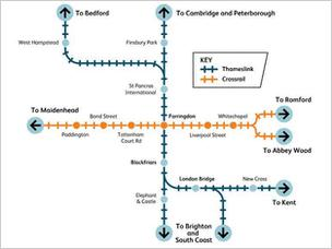 Map of the eventual intersecting Thameslink and Crossrail routes