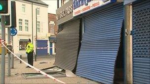 Shops damaged in explosion