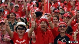 """Thai anti-government """"red shirt"""" protesters gestures during a rally at the Democracy monument"""
