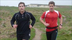 Simon and Matt Phelps running in Swanage