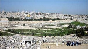 The view of Jerusalem from the Mount of Olives