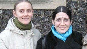 Madhuera Gauerangi (left) and Chandra Mohini, founders of Hare Krishna movement in Norwich