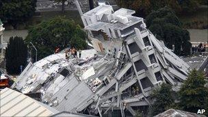 Collapsed building in central Christchurch