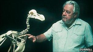 Gerald Durrell with the Dodo skeleton