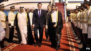 David Cameron arrives in Qatar