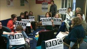 protesters in the BBC's Carmarthen newsroom