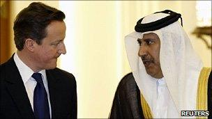 David Cameron with Sheikh Hamad bin Jassim