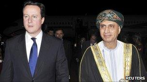 British Prime Minister David Cameron (left))with Omani Deputy Prime Minister Fahd bin Mahmoud al-Said