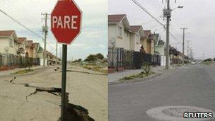 View of a damaged street in Talcahuano town, some 532 km (329 miles) south of Santiago (left); same location on 22 February 2011 (right)