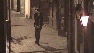Theo captured on CCTV in Westgate shortly before midnight on Friday