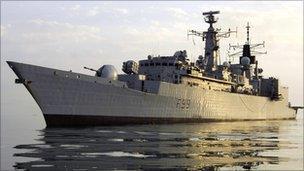 HMS Cornwall on duty in the Gulf