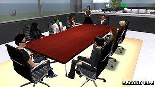 Business meeting taking place in Second Life