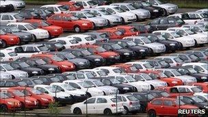 New cars at the Volkswagen plant in Sao Bernardo do Campo, Brazil