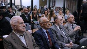 From left to right: Reynaldo Bignone, Jorge Rafael, Jose Luis Magnacco Ruben Franco at the start of their trial in Buenos Aires on 28 February