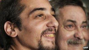 Francisco Madariaga (left) with his biological father Abel - file photo