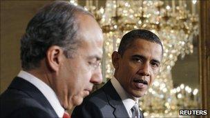 Felipe Calderon (left) and Barack Obama (right) on 3 March