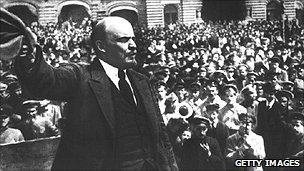 Lenin making a speech in Moscow