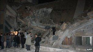 Ruined building in Col Muammar Gaddafi's compound in Tripoli, Libya - 20 March 2011