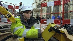 BT engineer in a hole