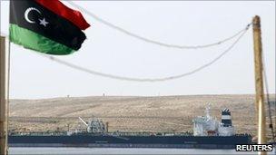 The Greek-owned oil tanker Equator at Marsa el-Hariga oil terminal in Tobruk, 6 April