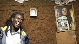 A Bob Marley poster hangs in a slum in Nairobi