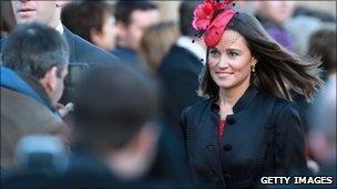 Pippa Middleton attends a wedding in Alnwick, Northumberland, on 26 February 2011