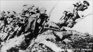 British troops climbing from their trench on the first day of the battle