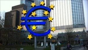 Euro sign outside the European Central Bank in Frankfurt