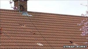Roof damages by debris