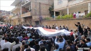 Demonstration in Zabadani, near Damascus. 22 April 2011