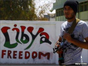 Libyan rebel fighter in Adjabiya (29 April 2011)