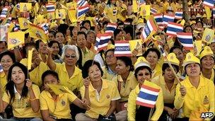 Yellow-shirts protest in Bangkok in December 2007