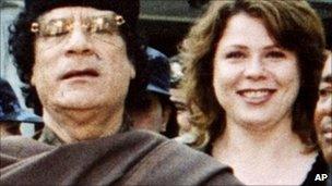 Muammar Gaddafi and Galyna Kolotnytska (file image)