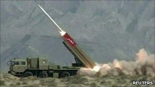 Pakistan's Hatf IX (NASR) missile being fired during a test in April 2011.