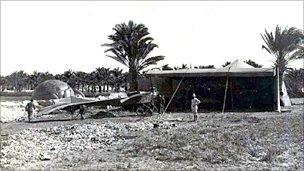 Gavotti threw the bombs from an Etrich Taube (Dove) monoplane - photo courtesy of Paolo de Vecchi