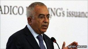 Palestinian Prime Minister Salam Fayyad presenting the bond sale