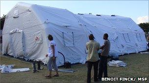 Inflatable tent in Haiti