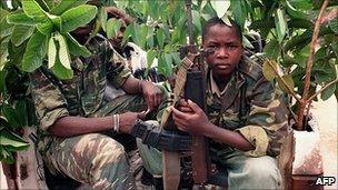 Young government militiamen in Kigali, 1994