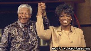 Nelson Mandela with Oprah Winfrey