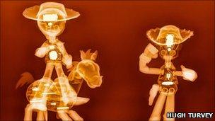X-rays of Woody and Jessie from Toy Story